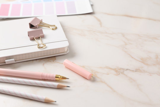 Stylish stationery on light table