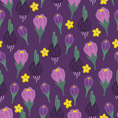 Seamless floral pattern with crocus, hyacinth bulbs and yellow flowers