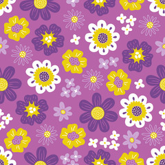 Seamless floral pattern with daisy, lilac and colorful flowers