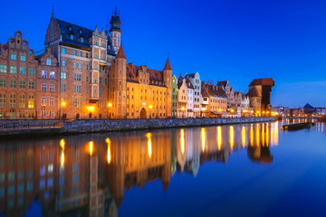 Beautiful old town of Gdansk with historic Crane at Motlawa river, Poland