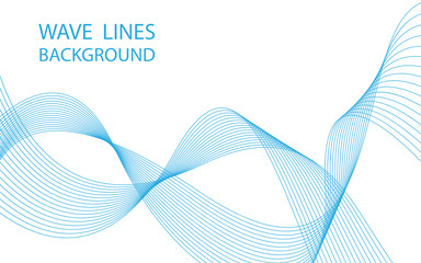 Abstract blue wave lines on white background. Can be used presentation, poster. Vector illustration.