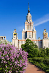 View of the main building of Moscow state University on a sunny spring day with the blooming lilac bushes, Moscow, Russia
