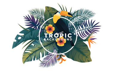 Tropical background with jungle plants. Frame with tropic leaves and Toucan bird, can be used as Exotic wallpaper, Greeting card, poster, placard. Vector Illustration