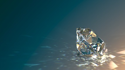 Round cut diamond on gradient background, sparkles, shadow, caustics rays. 3D rendering