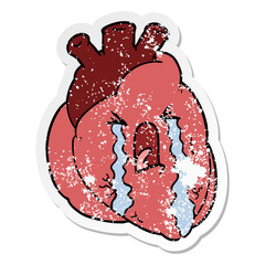 distressed sticker of a cartoon heart crying