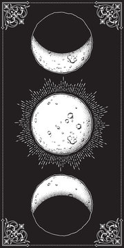 Antique style hand drawn line art and dot work moon phases. Boho chic poster, fabric, altar veil or tapestry design vector illustration.