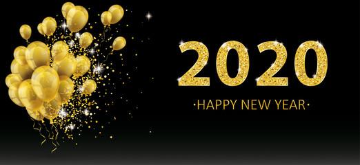 Golden Balloons Golden Particles Confetti 2020 New Year Black Fototapete