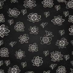Seamless vector pattern with flowers and leaves on a black background.