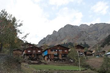 amazing village landscapes and wooden houses.savsat/artvin/turkey