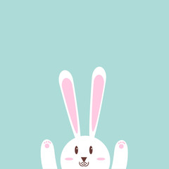 Cute rabbit card template with space for yoir text.Pastel tones.clip art