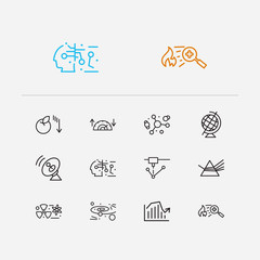 Physics icons set. Atomic physics and physics icons with nuclear physics, gynaecology and laser device. Set of chemistry for web app logo UI design.