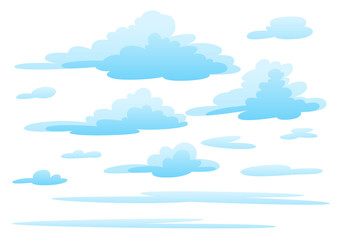 Illustration of clouds on white background.