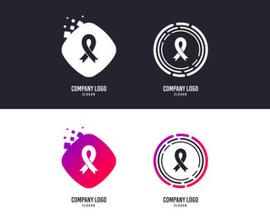 Logotype concept. Ribbon sign icon. Breast cancer awareness symbol. Logo design. Colorful buttons with icons. Vector