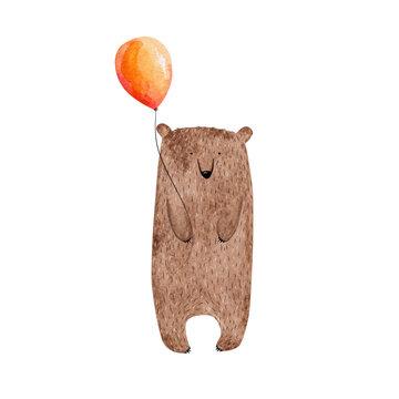 Cute watercolor bear holding balloon