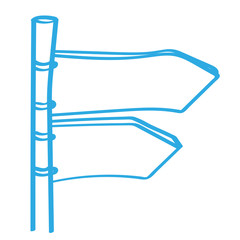 Handgezeichneter Wegweiser in blau