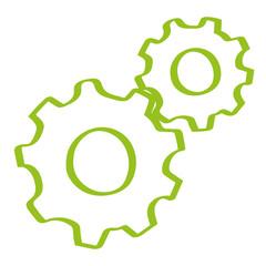 Handgezeichnete Zahnräder in hellgrün