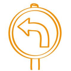 Handgezeichnetes Schild mit Pfeil nach links in orange