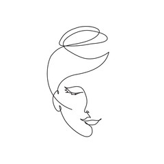 Door stickers One Line Art Abstract face icon