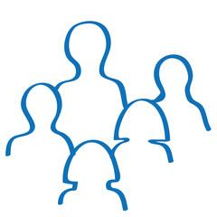 Handgezeichnetes Team-Symbol in dunkelblau