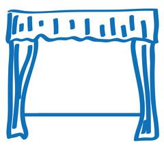 Handgezeichneter Theatervorhang in dunkelblau