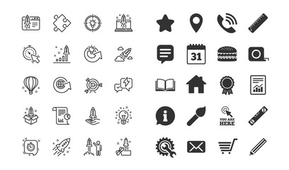 Startup line icons. Set of Launch Project, Business report and Target linear icons. Strategy, Development plan and Space rocket symbols. Air balloon, Out of the Box and Business innovation. Vector