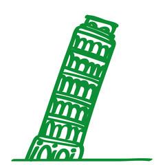 Handgezeichneter Turm von Pisa in grün