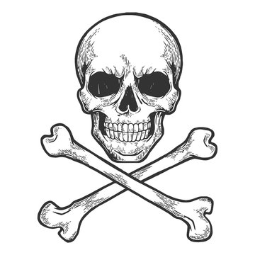 Skull with crossed bones. Pirate symbol Jolly Roger sketch engraving vector illustration. Scratch board style imitation. Hand drawn image.