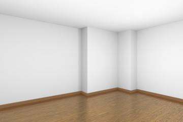 White empty room with brown wood parquet floor