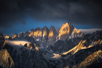 Mt. Whitney in the Sierra Nevada Range at Sunrise