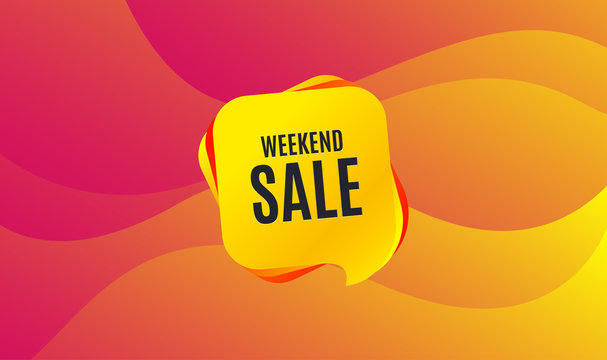 Weekend Sale. Special offer price sign. Advertising Discounts symbol. Wave background. Abstract shopping banner. Template for design. Vector