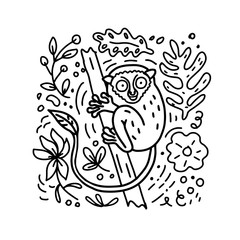 Hand drawn lanier doodle style illustration of Philippine Tarsier with flowers and leaves elements. Vector coloring book.