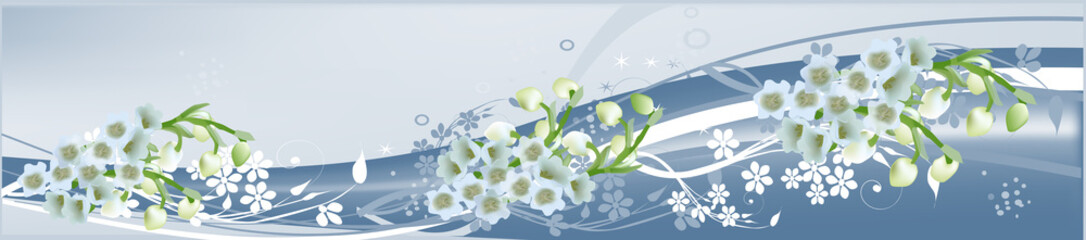 decoration with white flowers on blue