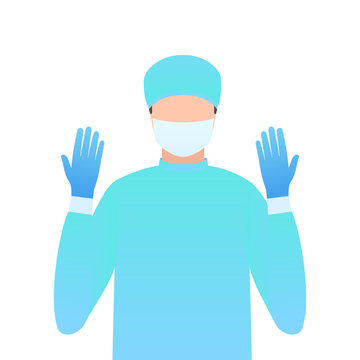 Surgeon in gloves and a mask