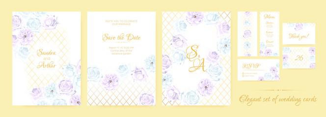Vintage Wedding Invite Watercolor Set.