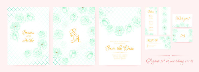 Wedding Invitation, Cards Templates Set.