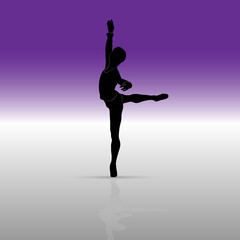 Silhouette of a ballet dancer in a pose or position