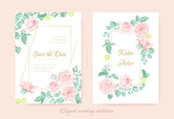 Vector Flowers Bouquet, Vintage Wedding Cards.