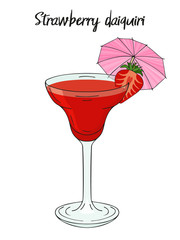 Strawberry daiquiri cocktail, with umbrella, straw. For cafe and restaurant menu, packaging and advertisement. Hand drawn. Isolated image. Vector illustration.