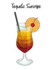 Tequila sunrise cocktail, with orange decorations, straw and cherry. For cafe and restaurant menu, packaging and advertisement. Hand drawn. Isolated image. Vector illustration.