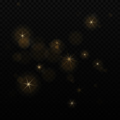 Soft bokeh, lights and stars on transparent background. Abstract blurred star light element. Glowing decoration on background. Isolated. Vector illustration.