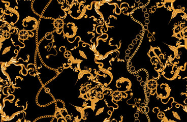 Baroque pattern with golden chains, fishes and anchors. Vector seamless marine patch for scarfs, print, fabric.