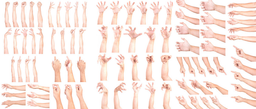 MEGA SET of Multiple Male Caucasian hand gestures isolated over the white background, set of multiple images. Zombie Hand Pose.