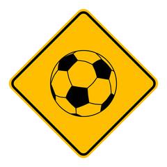 Fußball und Schild