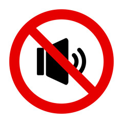 Lautsprecher und Verbotsschild