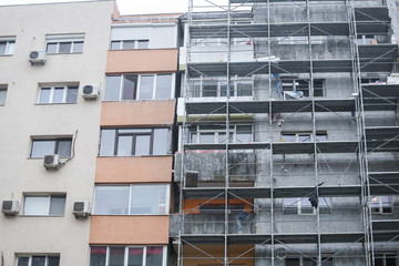 Scaffoldings on the facade of a block of flats