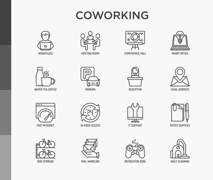 Coworking office thin line icons set: workplace, meeting room, conference hall, smart office, parking, reception, legal address, fast internet, 24 hour access, IT support. Vector illustration.
