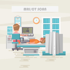 MRI/CT scan. Medical vector concept. Healthcare and treatment illustration.