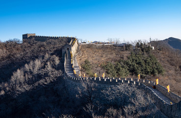 China's famous landmark buildings, the Great Wall and mountains.