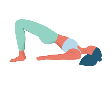 Woman in yoga position. Bridge pose. Exercise for muscular