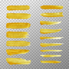 Golden stripes acrylic hand painted isolated on transparent background. Vector hand painted golden stroke brush.